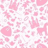 在爱好女婴,辅助部件和玩具题材的无缝的例证,对象概述变粉红色在白色bac的象 库存照片
