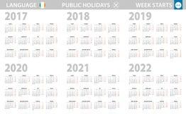 在爱尔兰语语言的日历年2017年2018年2019年2020年2021年2022年 E 皇族释放例证