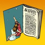 在爱年轻人和女孩的夫妇 书新颖的童话梦想 库存例证