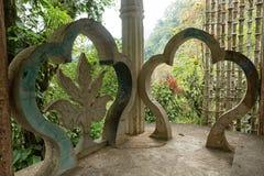 在爱德华詹姆斯庭院Xilitla墨西哥的混凝土结构 图库摄影