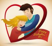 在爱拥抱在心脏形状的,传染媒介例证的夫妇 免版税库存照片
