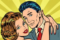 在爱拥抱的夫妇 向量例证