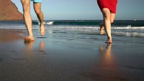 在爱无忧无虑的赛跑从水和摇他们的手的夫妇对某人海滩的 美丽如画的海洋海岸 股票视频