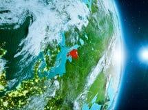 在爱沙尼亚上的日出行星地球上 库存照片