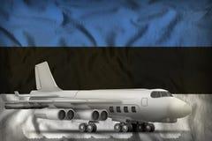 在爱沙尼亚州旗子背景的轰炸机 3d?? 向量例证