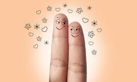 在爱的一对手指夫妇 免版税库存照片