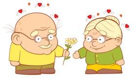 在爱的一对老夫妇 库存图片
