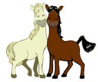 在爱的两三匹滑稽的马 免版税库存照片