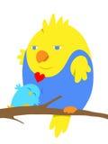 在爱的两只动画片鸟 免版税库存照片