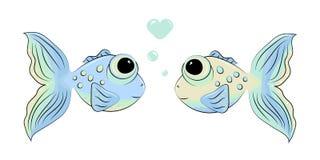 在爱的两条逗人喜爱的鱼 向量例证