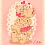 在爱的二个逗人喜爱的玩具熊 库存图片