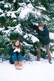 在爱的夫妇在冬天 免版税图库摄影