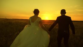 在爱的夫妇在蜜月旅行 r t 愉快的男人和妇女跑在日落 股票录像