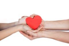 在爱的夫妇在他们的手上的拿着红色纸心脏隔绝在白色背景 库存照片