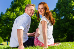 在爱的夫妇坐公园草坪 免版税库存图片