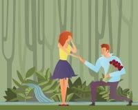 在爱的年轻夫妇 人提出一个提案给他的女朋友,下跪 也corel凹道例证向量 向量例证