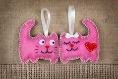在爱的桃红色猫 免版税库存照片
