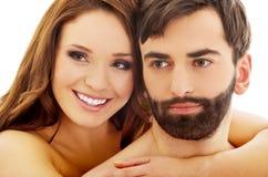 在爱的美好的热情的赤裸夫妇 免版税库存照片