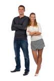 在爱的美好的年轻夫妇对他充分的高度 图库摄影