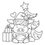 在爱的逗人喜爱的动画片猪 新的2019年的标志. 腮腺炎, 标签.