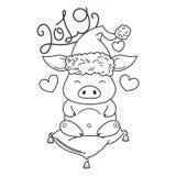 在爱的逗人喜爱的动画片猪 新的2019年的标志