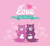 在爱的逗人喜爱的夫妇熊。 库存图片