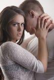 在爱的逗人喜爱的青少年的夫妇 库存照片