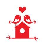 在爱的逗人喜爱的鸟和鸟舍-卡片为情人节 向量例证