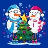 在爱的雪人一起见面一个新年在圣诞树下 皇族释放例证