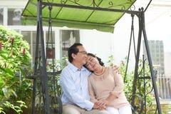 在爱的高级夫妇 免版税图库摄影
