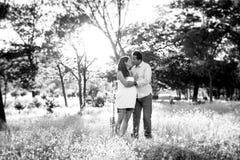 在爱的年轻愉快的夫妇一起在公园与妇女怀孕的腹部的风景日落 免版税图库摄影