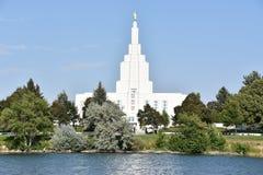 在爱达荷的摩门教堂在爱达荷落 库存图片
