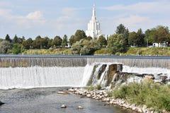 在爱达荷的摩门教堂在爱达荷落 免版税库存照片