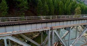 在爱达荷铺铁路带领入沿一条河的一个森林的桥梁 股票视频