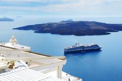 在爱琴海和游轮的看法 库存图片