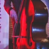 在爵士乐队执行期间,与歌唱者和音乐会共同安排观点的一个最低音大提琴球员 库存照片