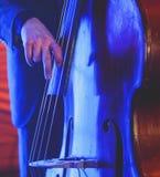 在爵士乐队执行期间,与歌唱者和音乐会共同安排观点的一个最低音大提琴球员 库存图片