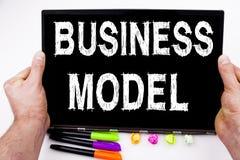 在片剂写的业务模式文本,计算机在有标志的,笔,文具办公室 数字式行销的企业概念 免版税库存照片