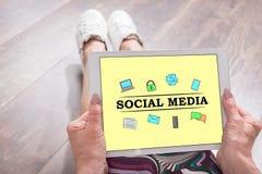 在片剂的社会媒介概念 库存照片