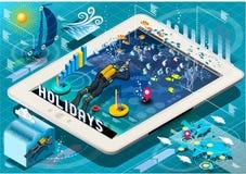 在片剂的等量潜水假日Infographic 免版税图库摄影