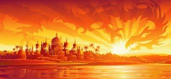 在版本之下的城市龙金黄天空 皇族释放例证