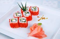 在牌照的寿司 免版税库存照片