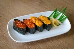 在牌照的寿司 库存图片