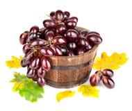 在牌照的新鲜的葡萄与绿色叶子 免版税库存图片