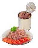 在牌照的罐装肉 库存照片