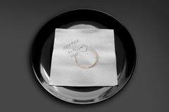 在牌照的餐巾 免版税库存图片