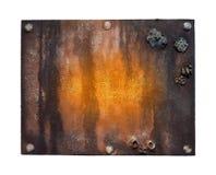 在牌白色的查出的金属对象 免版税库存图片