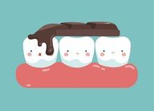 在牙、牙齿概念的牙和牙的顶部巧克力块 库存图片