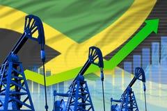 在牙买加旗子背景-牙买加石油工业或市场概念的工业例证的增长的图表 3d?? 向量例证
