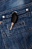在牛仔裤的矿穴的关键字 图库摄影